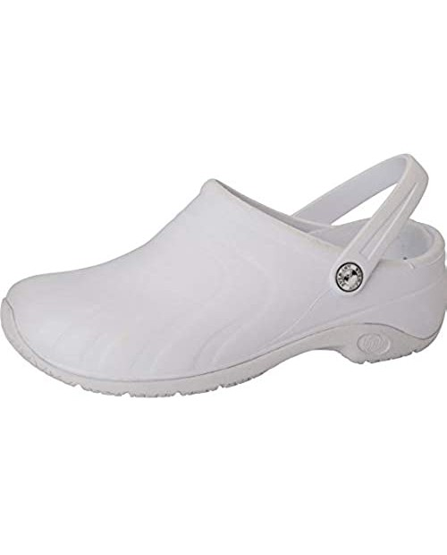 Anywear Zone Women's Healthcare Professional Injected Clog with Backstrap 8 White