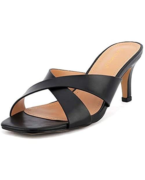 Greatonu Women's Cross Strap Slip On Kitten Heeled Sandals