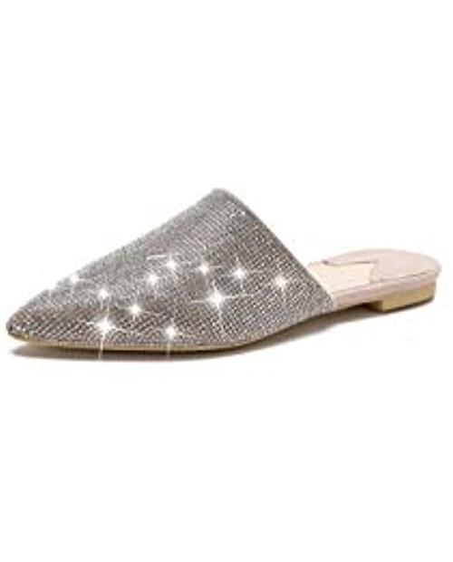 MACKIN J 327-1 Women's Pointed Toe Mules Slip On Rhinestones Slides Dress Flats