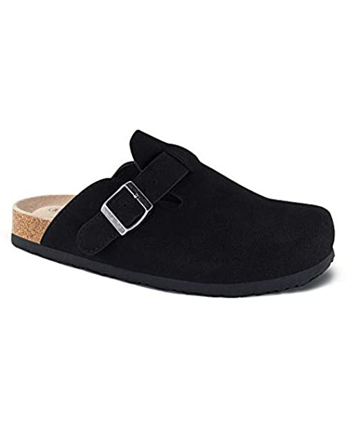 Unisex Boston Soft Footbed Clog,Suede Leather Clogs Cork Clogs Shoes for Women Men,Antislip Sole Slippers Mules