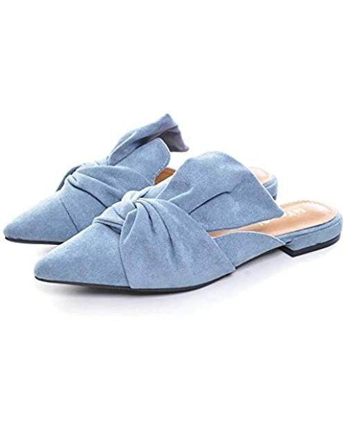 VFDB Women's Bowtie Mule Slippers Summer Pointy Toe Loafers Slip On Flat Shoes