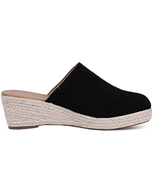 Womens Closed Toe Espadrilles Mule Wedges Sandals Slides Slip On Backless Loafers Shoes
