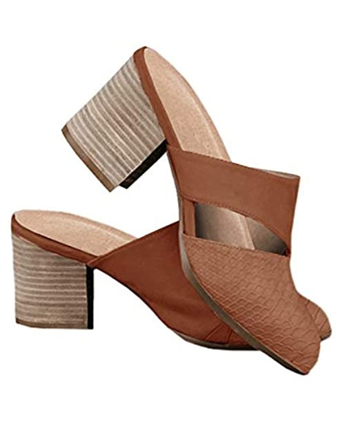Womens Cutout Backless Chunky Stacked Mules Slip On Closed Toe Scale Heeled Sandal Shoes