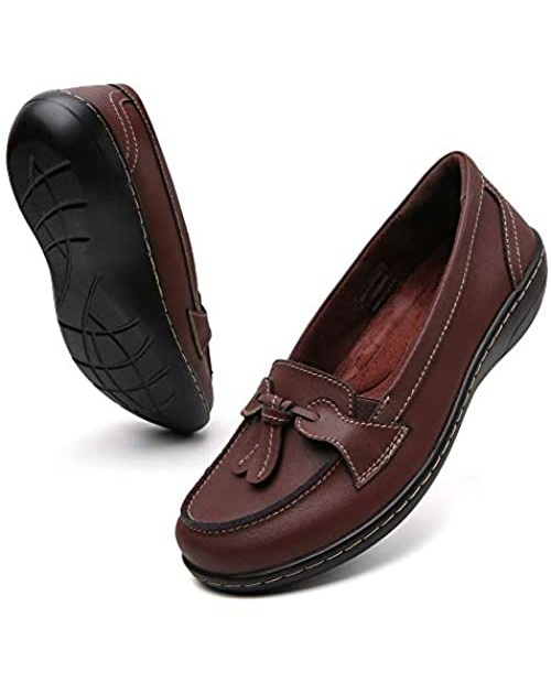 Maichal Loafers for Women Slip On Leather Comfort Rubber Sole Flats Shoes