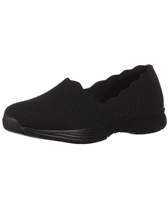 Skechers Women's Seager-Stat-Scalloped Collar Engineered Skech-Knit Slip-on-Classic Fit Loafer