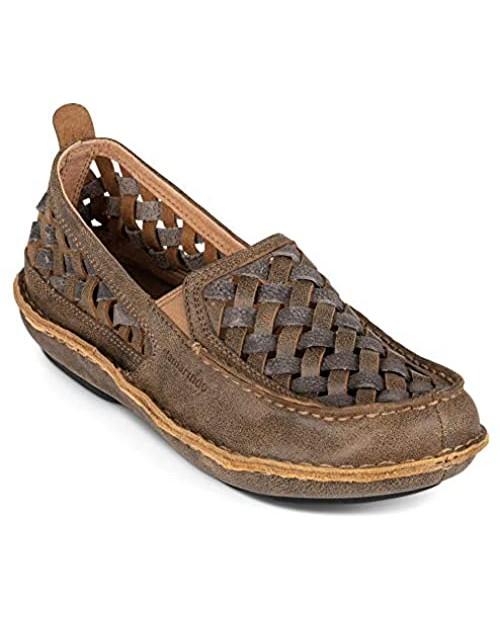 Tamarindo Pathfinder Men's Shoe Soft Woven Leather Slip On Loafer - Sand/Pebble