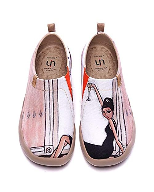 UIN Women's Lightweight Slip Ons Sneakers Fashion Flats French Lady Casual Art Painted Travel Shoes The Little Dress