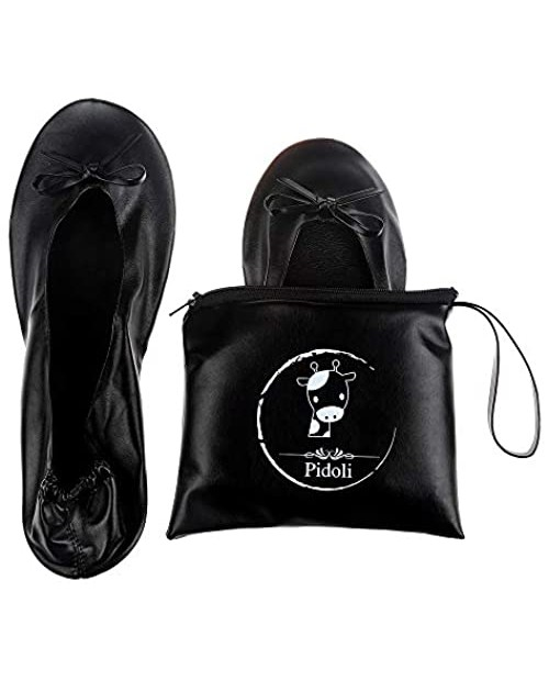 Ballet Flats Shoes -Women's Foldable Portable Travel Roll Up Shoes with Pouch