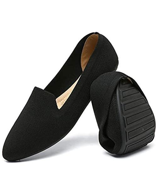 katliu Women's Knit Flat Shoes Comfortable Pointed Toe Ballet Flats Shoes Casual Slip On Flats