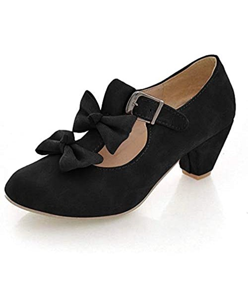 MFairy Woman's Low Heel Lolita Shoes Cute Bowknot Mary Jane Shoes