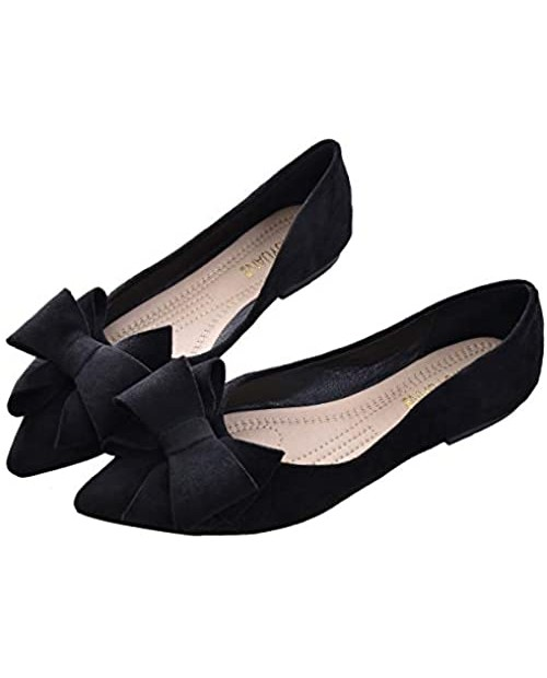 SAILING LU Bow-Knot Ballet Flats Womens Pointy Toe Flat Shoes Suede Dress Shoes Wear to Work Slip On Moccasins