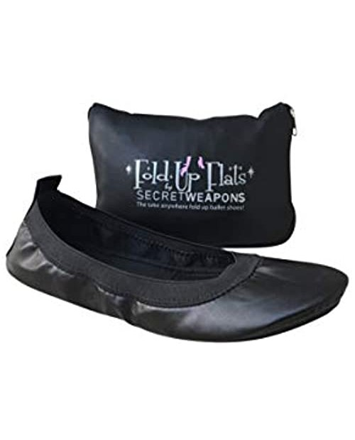 SECRET WEAPONS Fold Up Ballet Flats-Foldable Ballet Flats Shoes-Portable Travel Shoes with Purse & Tote Carry Bag - Colours Black Silver Champagne and Leopard