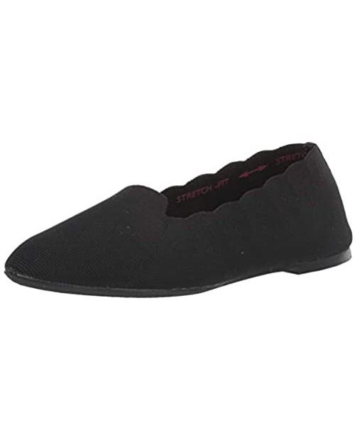 Skechers Women's Cleo-Movie Date-Scallop Collar Engineered Knit Loafer Skimmer Ballet Flat