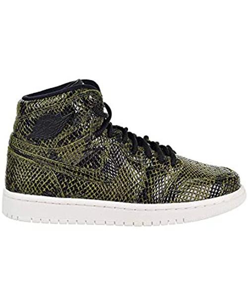 Jordan AH7389-302: Womens Jordan 1 Retro High Premium Olive Canvas/Black Sneaker