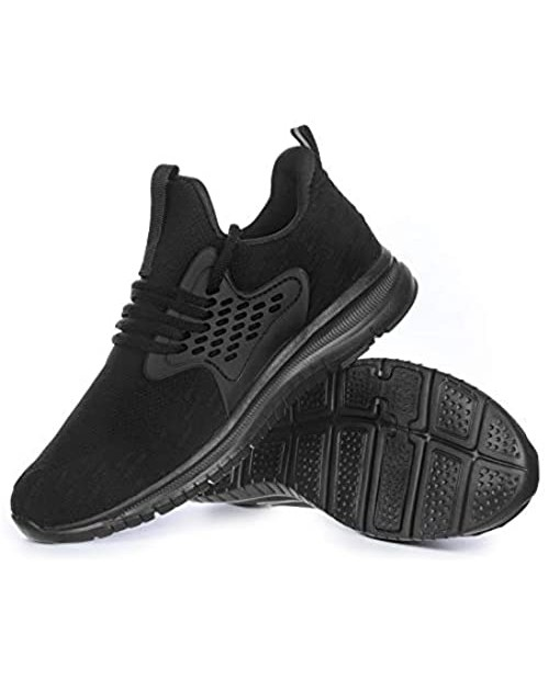 Akk Womens Lightweight Running Shoes - Breathable Walking Shoes Mesh Slip On Tennis Sneakers for Gym Workout Jogging Sports All Black 9.5