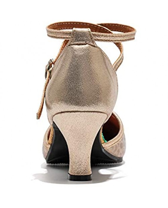 Dress First Womens Latin Dance Shoes Closed Toe Ballroom Dance Shoes Ankle Strap Ladies Character Party Prom Dancing Pump