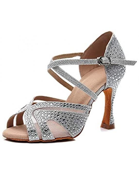Goettin Ladies Ballroom Latin Dance Shoes Color Rhinestone Ballroom Party Performance Shoes 3.5 Inch Ladies High Heels
