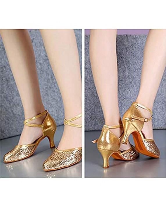 HIPPOSEUS Women's Latin Dance Shoes Closed Toe Ballroom Salsa Dance Shoes for Wedding Party Model WX