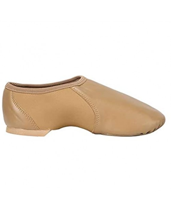Linodes Unisex PU Leather Upper Slip-on Jazz Shoe with Circle Elastic for Women and Men's Dance Shoes