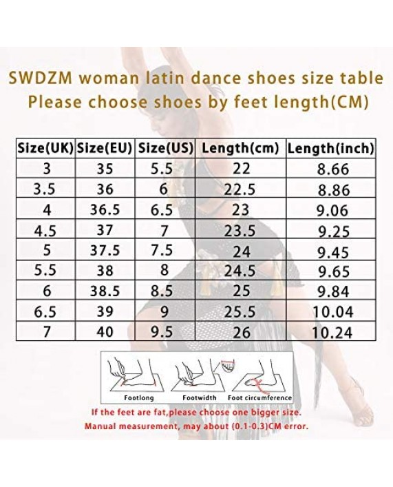 SWDZM Women's Ballroom Dance Shoes Closed Toe with Sequin Latin Salsa Tango Ballroom Practice Performance Dance Shoes Model-MF1802+DY225