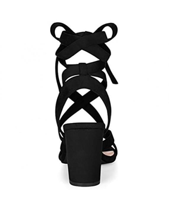 Allegra K Women's Crisscross Chunky Heel Lace Ups Sandals
