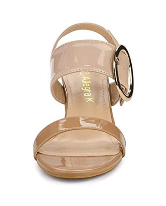 Allegra K Women's Slingback Block High Heel Sandals