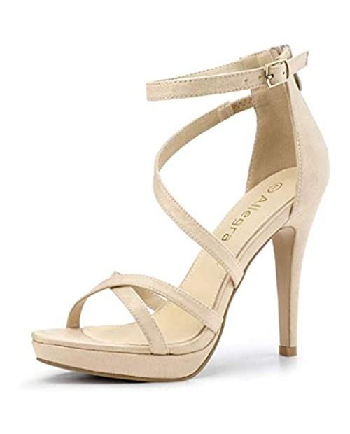 Allegra K Women's Strappy Platform Stiletto Heels Sandals