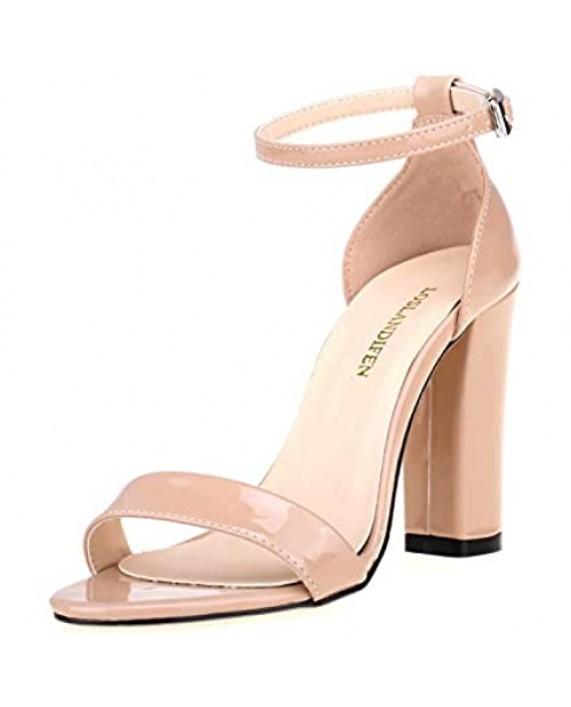 LOSLANDIFEN Women's Stiletto Heel Sandals Open Toe Ankle Strap High Heels Wedding Party Sandals Party Shoes