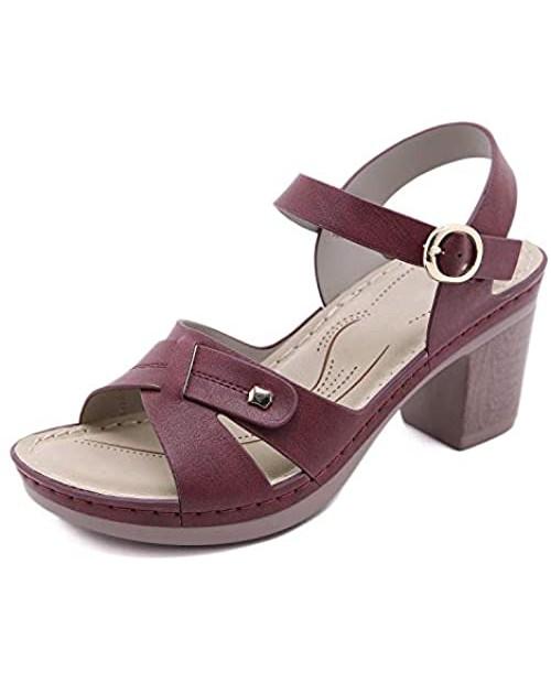 SHIBEVER Women Open Toe Ankle Strap Sandals Summer Platform Sandal Block Heel Boho Chunky Dress Party Shoes US5-10
