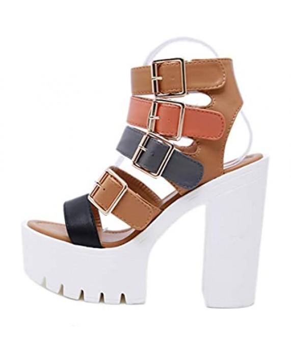 STUPMARY Women Sandals Peep Toe Buckle Strap Platform Sandals Chunky Block Heels Gladiator Pumps