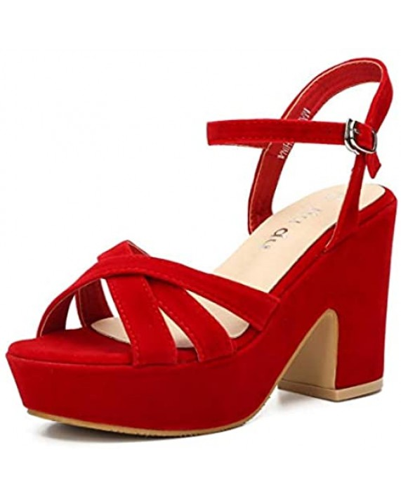 Women's Suede Platform Wedges Sandals Ankle Strap Dress Sexy Wedding Open Toe High Heeled Block Chunky Heel Shoes Pumps