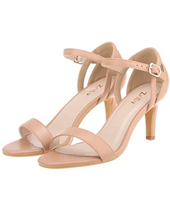 ZriEy Women Strappy High Heels Mid Heeled Sandals 3 Inches Open Toe Sexy Stiletto Sandals Ankle Strap Bridal Party Wedding Shoes