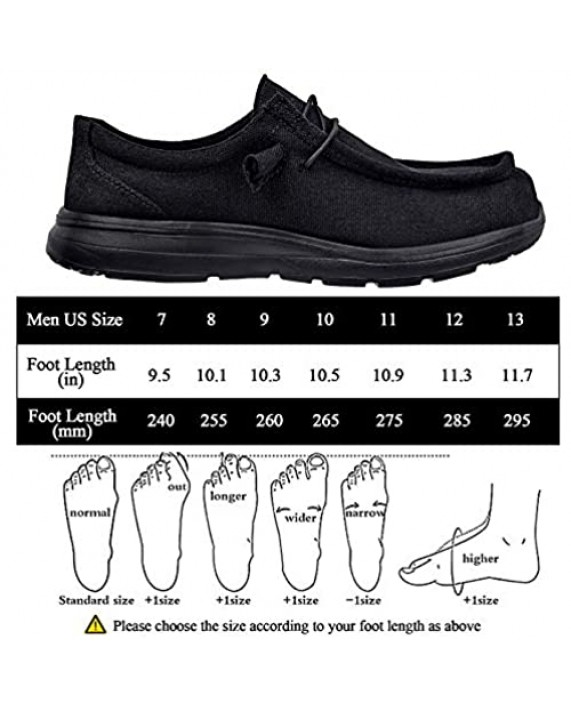 Black Non Slip On Shoes Loafers for Men Casual Comfortable Canvas Casual Shoes for Men with Deep Heel Cup & Arch Support Mens Loafers Slip On Shoes for Daily Wearing