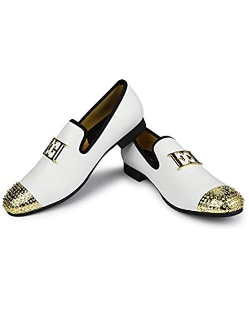 XQWFH Mens Leather Loafers Spiked Dress Shoes with Gold Buckle Penny Slip-On Luxury Men Wedding Party Prom Shoes