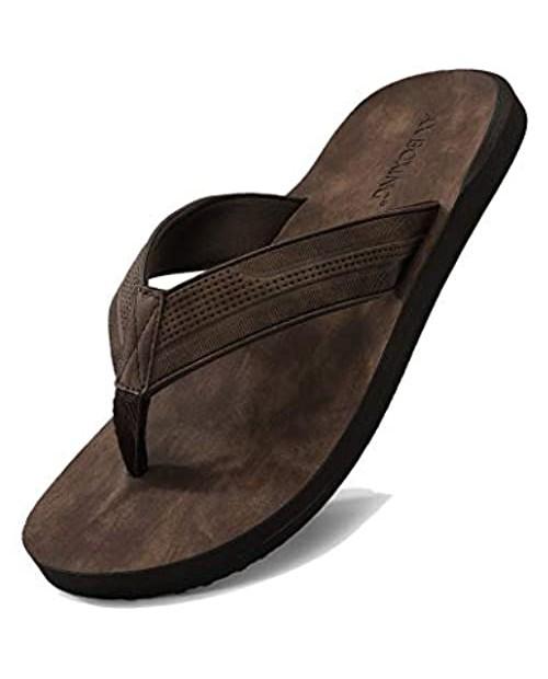 AX BOXING Men's Flip Flops Thong Sandals Advanced Soft Leather Slides Slipper