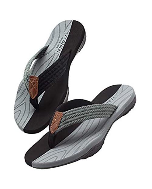 Husmeu Men's Flip Flops Sandal Summer Beach Sandals for Men Non Slip Comfy Arch Support Casual Thong Sandals Sport Flat Slides Shoes