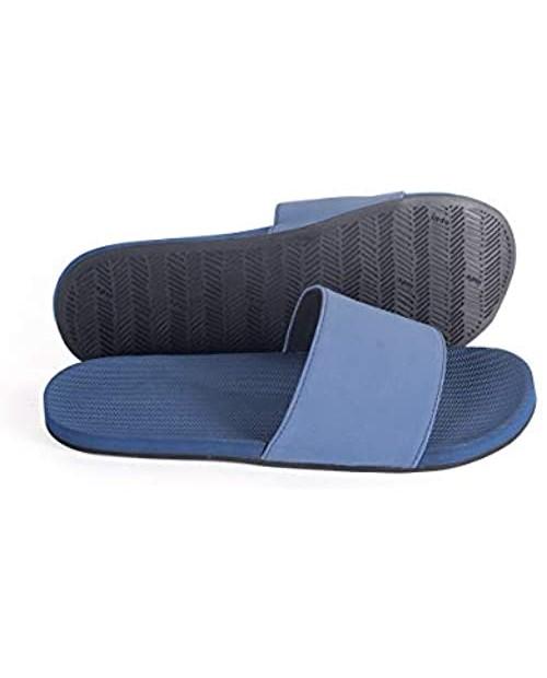 Indosole Men's ESSNTLS Vegan Slides [Reused Tire Sole Natural Rubber Arch Support ENVRO Strap Waterproof]
