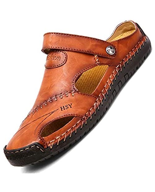 Mens Casual Leather Sandals Summer Beach Slipper Mens Comfort Outdoor Shoes Fashion Lightweight Trail Water Sandal Adjustable (Two Ways)