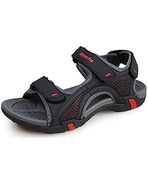 Men's Synthetic Leather Sandals Opened Toe with Triple Hook and Loop Fastener
