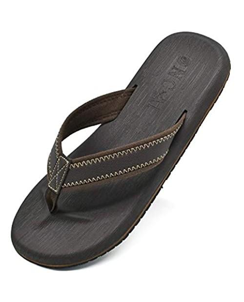 ONCAI Mens Sandals Flip Flops for Men Black Athletic Cushion Footbed Waterproof Outdoor Summer Beach Slippers