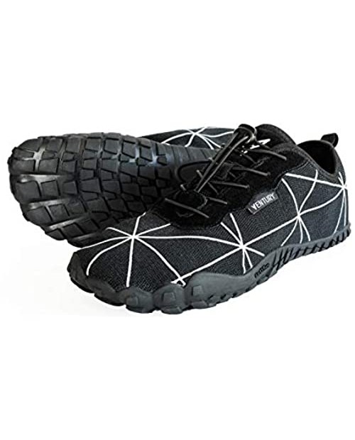 Ventury Zero Barefoot Trail Running Shoes - Minimalist Runners with Wide Toe Box Zero Drop Sole and Odor-Free Insole with Real Silver for Men and Women