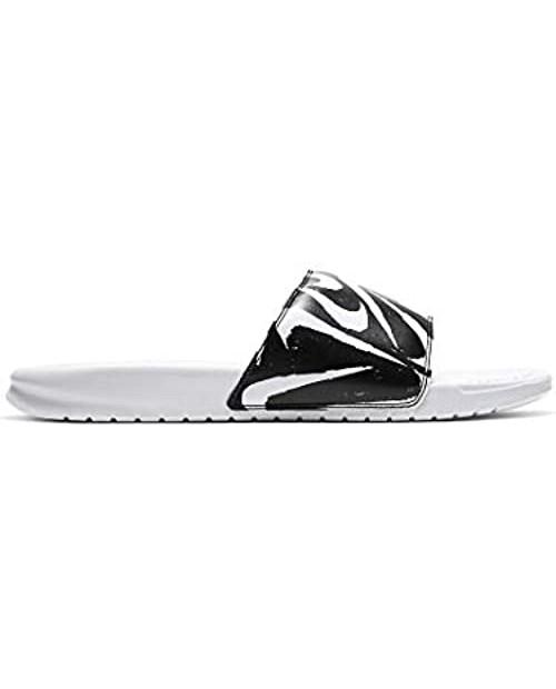 Nike Men's Benassi JDI Print Slide Sandals - 631261-106 - White/Black
