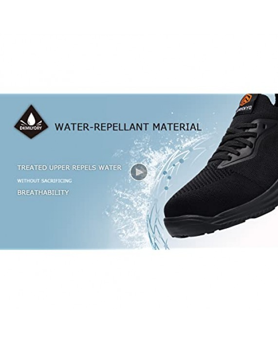 DYKHMATE Steel Toe Shoes for Women Lightweight Water Resistant Safety Work Shoes Ladies Girls Comfortable Breathable Slip On Safety Toe Tennis Sneakers