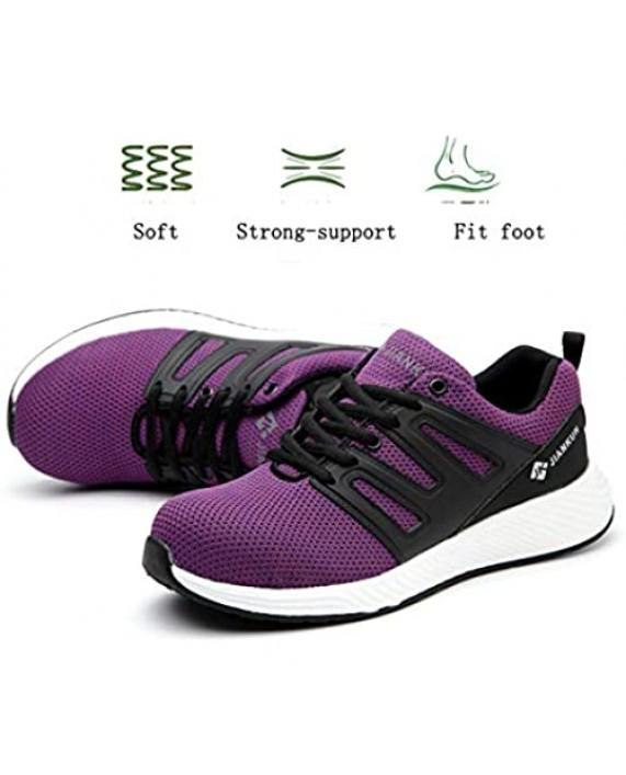 Furuian Women's Steel Toe Shoes Lightweight Safety Work Breathable Puncture Proof Tennis Sneakers