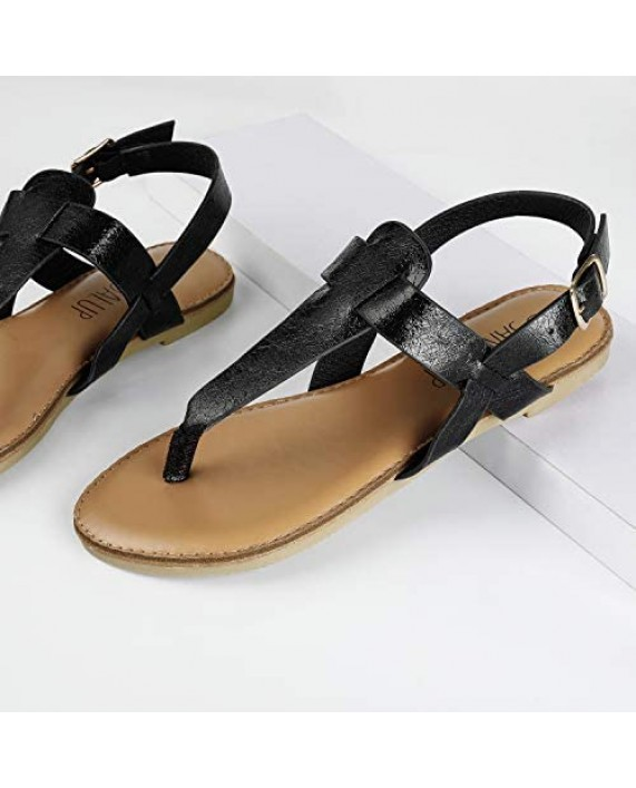 SANDALUP Thong Flat Sandals T-Strap Sandals with Ankle Strap for Women