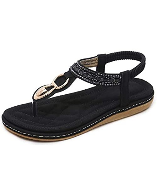 SHIBEVER Elastic Ankle Strap Flats Sandals for Women Bohemian Beach Flats Comfortable T-Strap Thong Flip Flops Shoes