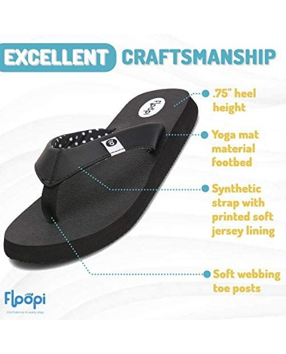 Floopi Classic Summer Flip Flop Thong Sandals for Women-Comfort Strap and Yoga Mat Padding Insoles for Support-Printed Soft Jersey Lining Non Slip Soles