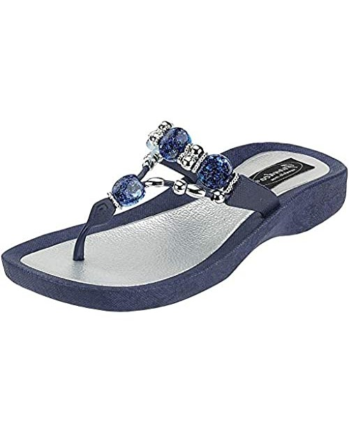 Grandco Women's 25542e Expression Beaded Waterproof Molded Sole Beach Thong Sandals Platform