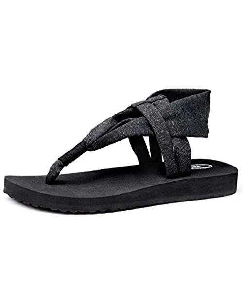 Ranberone Women's Yoga Mat Flip Flops Casual Flat Summer Beach Sandals