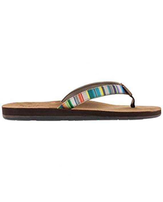 Scott Hawaii Women's Punakea Sandal | Ladies Flip Flop with Leather Footbed Arch Support and Colorful Rainbow Neoprene Comfort Strap